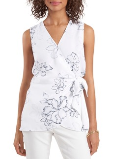 Vince Camuto Floral Beauty Wrap Front Sleeveless Blouse