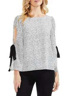 Vince Camuto Floral Bell Sleeve Cold Shoulder Top (Regular & Petite)