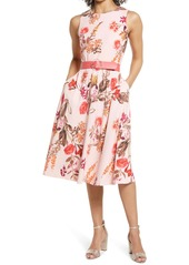 Vince Camuto Floral Belted Fit & Flare Dress