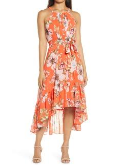 Vince Camuto Floral Chiffon Halter Dress