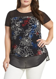 Vince Camuto Floral Coastlines Mixed Media Top (Plus Size)