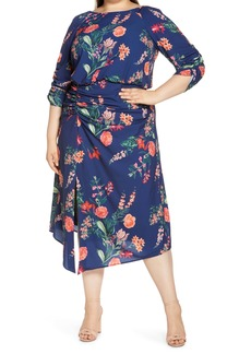Vince Camuto Floral Crepe Midi Dress (Plus Size)