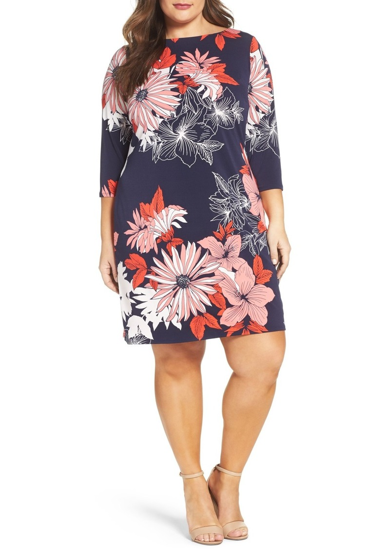 Vince Camuto Floral Crepe Shift Dress (Plus Size)