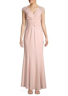 Vince Camuto Floral Embroidered Gathered Gown