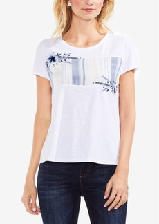 Vince Camuto Floral-Embroidered Graphic T-Shirt