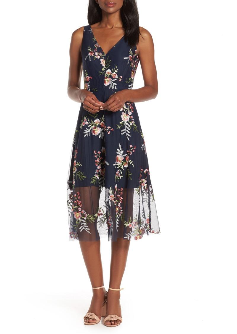 Vince Camuto Floral Embroidered Mesh Midi Dress (Regular & Petite)