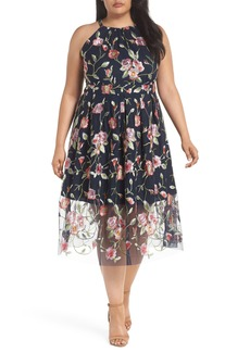 Vince Camuto Floral Embroidered Mesh Midi Halter Dress (Plus Size)