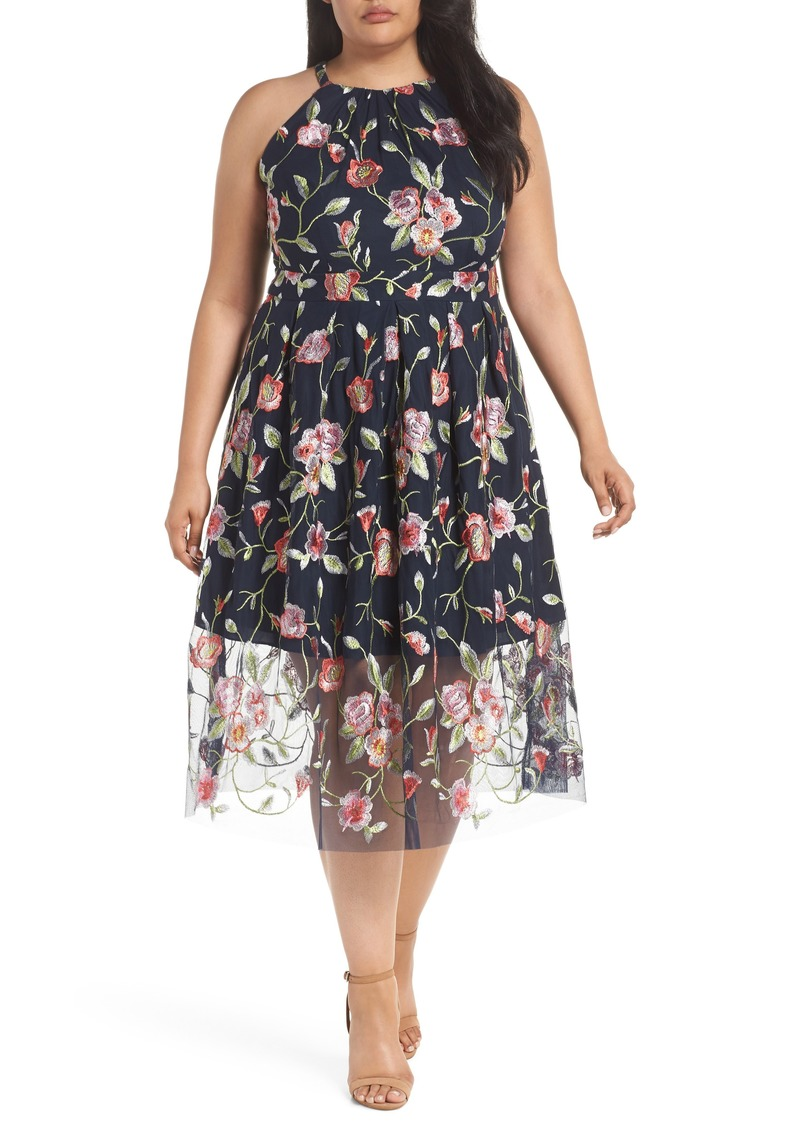 Vince Camuto Vince Camuto Floral Embroidered Mesh Midi Halter Dress (Plus  Size) | Dresses