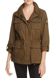 VINCE CAMUTO Floral-Embroidered Military Jacket