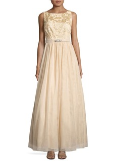 VINCE CAMUTO Floral-Embroidered Ruched Ball Gown