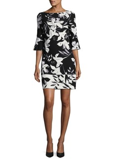 Vince Camuto Floral Flare Sleeve Shift Dress