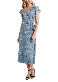 Vince Camuto Floral Flutter Sleeve Wrap Dress