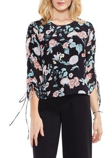 Vince Camuto Floral Gardens Drawstring Sleeve Blouse