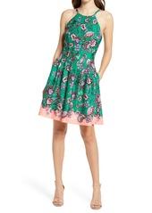 Vince Camuto Floral Halter Neck Scuba Crepe Fit & Flare Dress