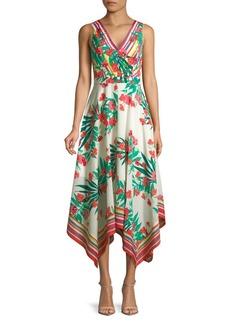 Vince Camuto Floral Handkerchief Dress