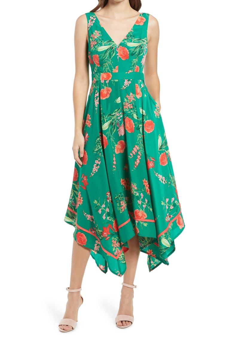 Vince Camuto Floral Handkerchief Hem Midi Dress