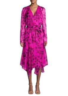 Vince Camuto Floral Handkerchief Midi Wrap Dress