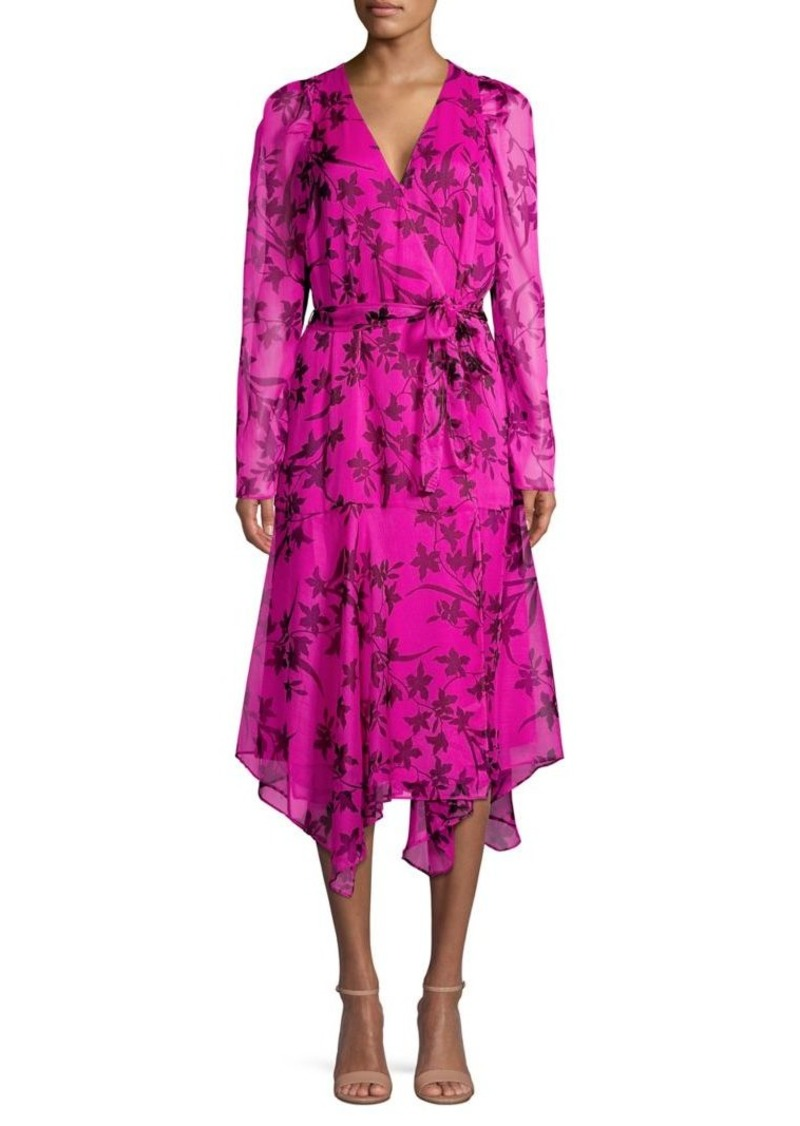 Vince Camuto Floral Handkerchief Midi Wrap Dress