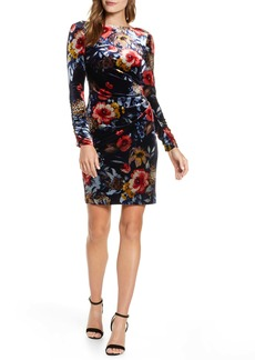 Vince Camuto Floral Long Sleeve Stretch Velvet Dress