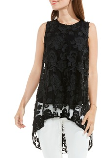Vince Camuto Floral Mesh High/Low Blouse