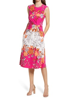 Vince Camuto Floral Mix Print Knot Waist Fit & Flare Midi Dress