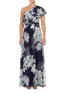VINCE CAMUTO Floral One Shoulder Gown