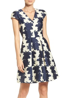 Vince Camuto Floral Organza Fit & Flare Dress (Regular & Petite)