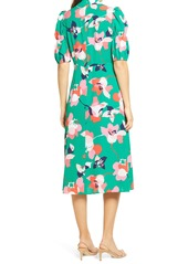 Vince Camuto Floral Pebble Crepe Midi Dress