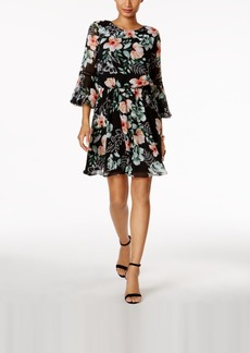 Vince Camuto Floral-Print Bell-Sleeve Dress