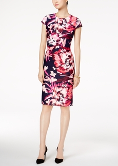 Vince Camuto Floral-Print Cap-Sleeve Sheath Dress