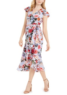 Vince Camuto Floral-Print Chiffon Flutter-Sleeve Dress