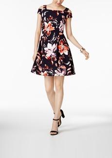 Vince Camuto Floral-Print Cold-Shoulder Dress