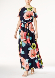 Vince Camuto Floral-Print Cold-Shoulder Maxi Dress