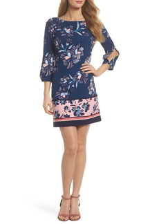 Vince Camuto Floral Print Crepe Shift Dress