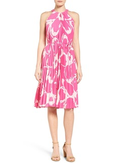 Vince Camuto Floral Print Pleat A-Line Dress (Regular & Petite)