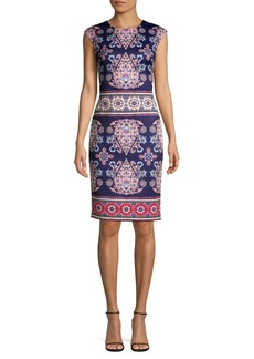 Vince Camuto Floral-Print Scuba Sheath Dress