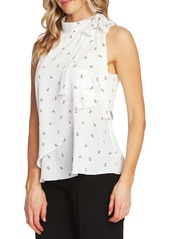 Vince Camuto Floral Print Tie Neck Sleeveless Top