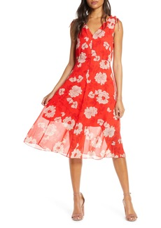 Vince Camuto Floral Print Tie Shoulder Chiffon Dress