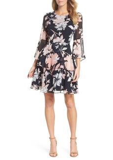 Vince Camuto Floral Print Tiered Chiffon Dress