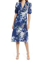 Vince Camuto Floral Puff Sleeve Pebble Crepe Midi Dress