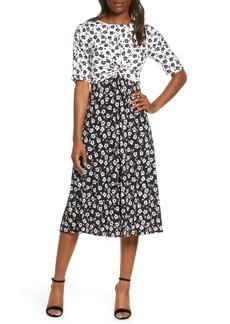 Vince Camuto Floral Reverse Print Midi Dress