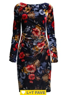 Vince Camuto Floral Ruched Velvet Sheath Dress