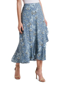 Vince Camuto Floral Ruffle Faux Wrap Midi Skirt