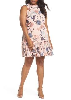 Vince Camuto Floral Ruffle Neck Chiffon Shift Dress (Plus Size)