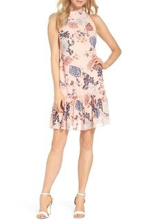 Vince Camuto Floral Ruffle Neck Chiffon Shift Dress (Regular & Petite)