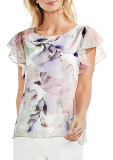 Vince Camuto Floral Ruffle Sleeve Blouse