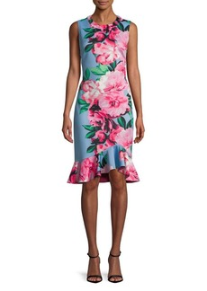 Vince Camuto Floral Ruffled Knee-Length Dress