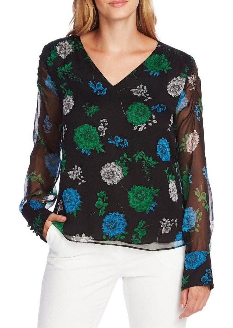 Vince Camuto Floral Semi-Sheer Blouse