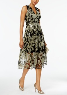 Vince Camuto Floral-Sequined Fit & Flare Midi Dress
