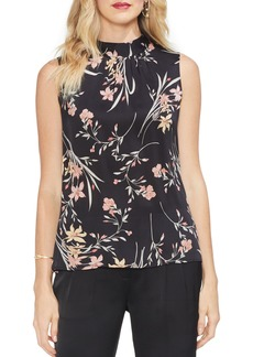 Vince Camuto Floral Soirée Ruched Sleeveless Blouse